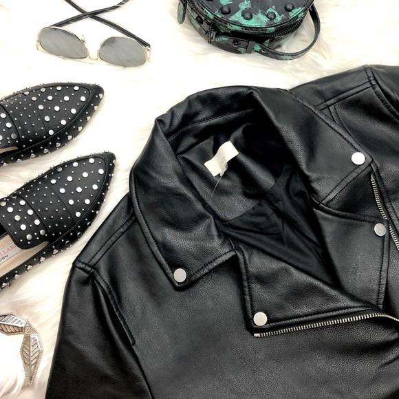LOFT Jackets & Blazers - Classic Black Faux Leather Moto Jacket